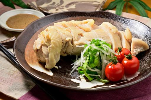Chicken steamed with sake