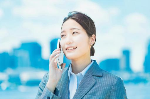 Woman calling on a smartphone