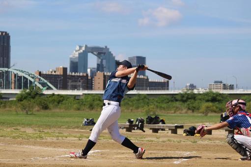 Male person baseball sports sky