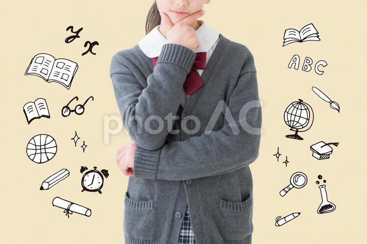 【切抜PSD】考える女子学生の写真