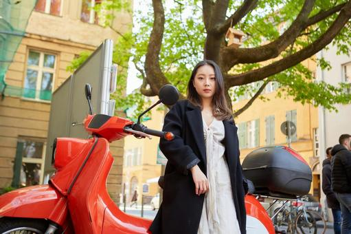Asian woman with motorcycle 1