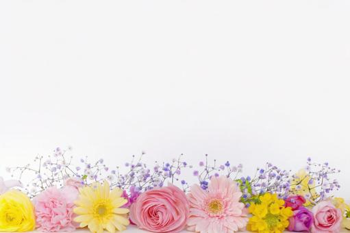 Frame of spring color flowers