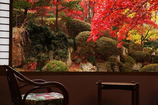 Landscape of a retro inn Autumn leaves