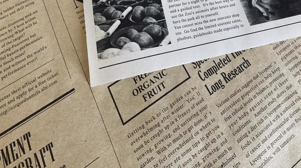 English newspaper stack