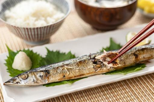 Saury grilled autumn image