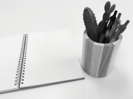 Notes and pens B & W