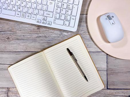 Notebook and keyboard bird's-eye view