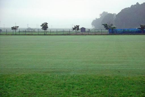 Early morning soccer field