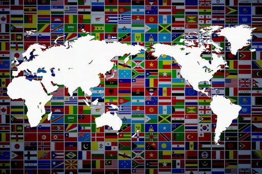 세계지도 7 국기 배경