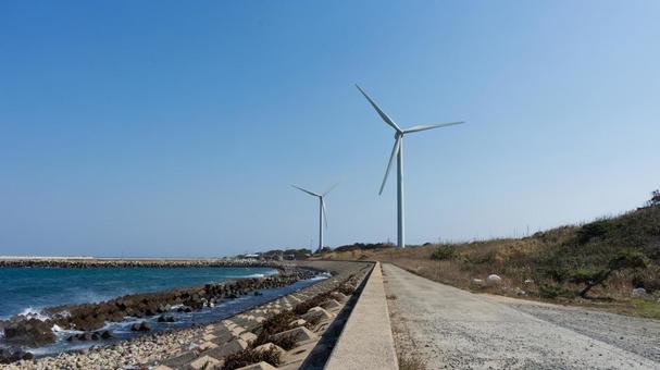 풍경 바다 근처의 풍력 발전기