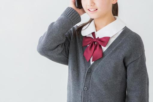 Girl in uniform calling