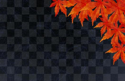 Autumn Maple Black checkered pattern background
