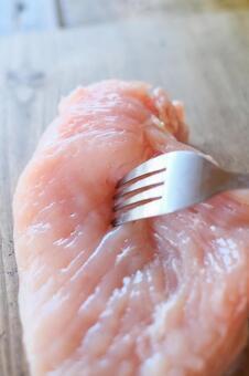 Stick the fork in chicken breast
