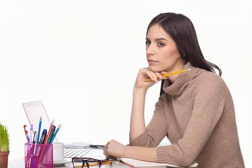 Female with writing instrument 3