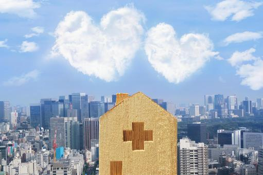 Heart cloud and hospital and the cityscape