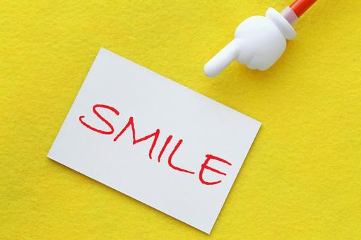 Smile laughing SMILE image material card pointing