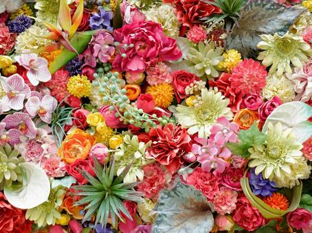 Flowers laid out