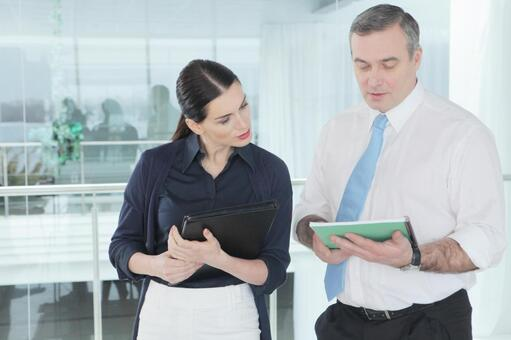 Business team to stand up and talk 11