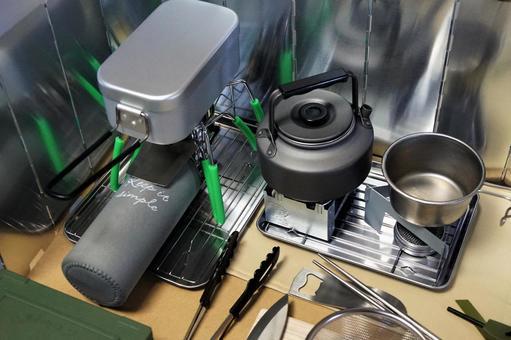 Preparing camping meal