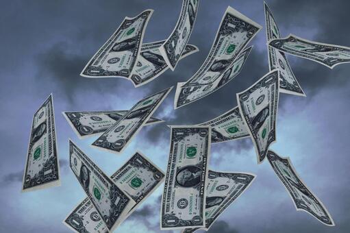 하늘에 춤추는 달러 지폐