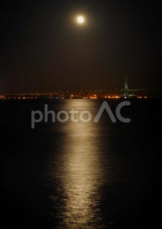水面に反射する月明かり2の写真
