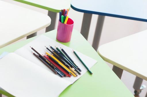 Writing utensils on the desk and paper 1