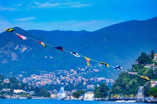 Landscape of Lake Como, an Italian resort