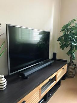 TV and sound bar (vertical)