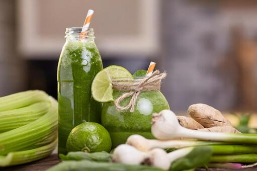 Two bottles of green smoothie 12
