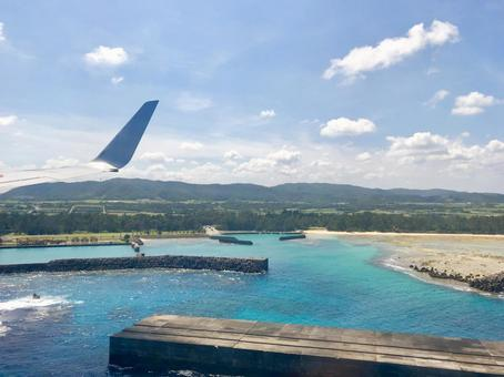Amami Oshima seen from an airplane