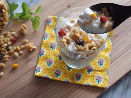 Yogurt and fruit granola