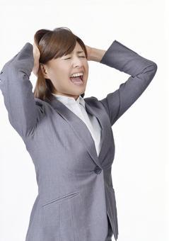 A woman holding a head 3