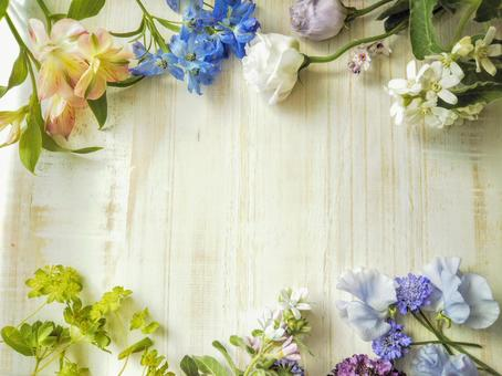 Botanical frame with flowers and wood grain