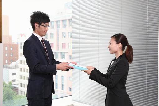 Businessman 2 hands the document 2