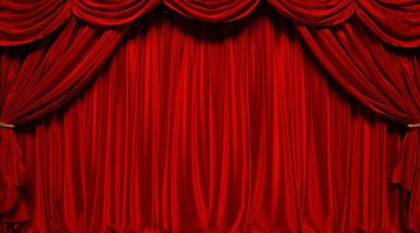 3D illustration of red curtain stage