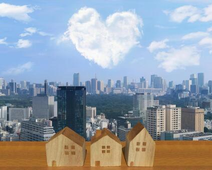 Heart cloud and city and house