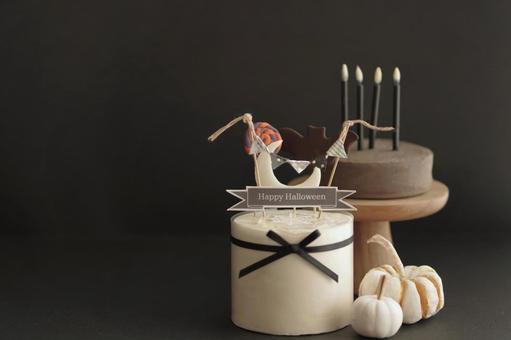 萬聖節裝飾蛋糕微型和黑色背景