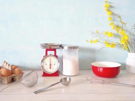 Kitchen miscellaneous goods Kitchen scale Flour Eggs
