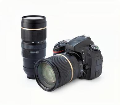 Single-lens reflex camera and interchangeable lens (camera equipment image) White background