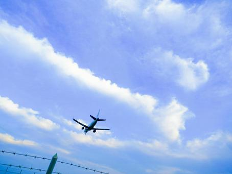 Blue sky and airplane