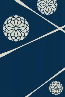 Background material · Japanese pattern · chrysanthemum x dark blue