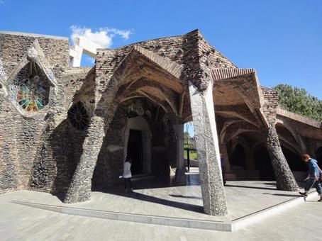 Colonia Guell Church Exterior Entrance