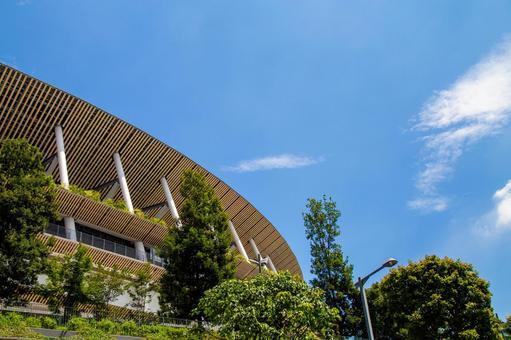 Sunny sky and new national stadium