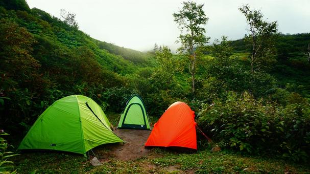 Three tents lined up in the tent area of Mt. Myoko