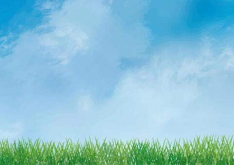 Blue sky and lawn background material