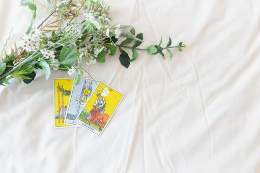 It is a picture of a tarot card and a flower.