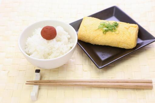 White rice cooked and Umeboshi and Egg Grilled 3