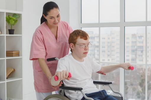 Cerebral palsy boy rehabilitating