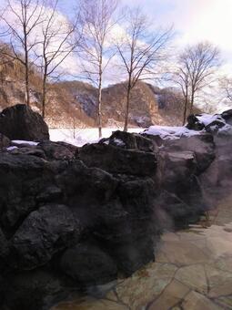 겨울의 홋카이도 큭 온천