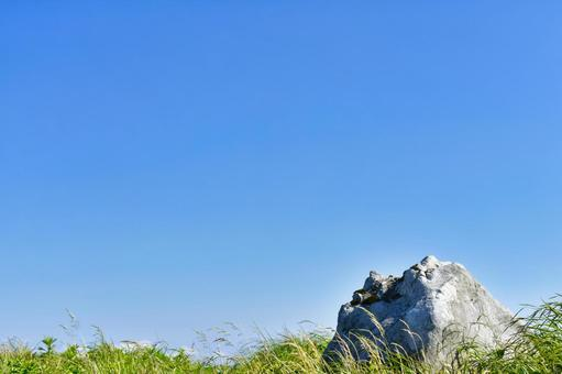 岩石、草和藍天